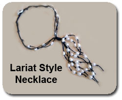 Lariat Necklace Pearls - Black Cord